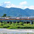 写真: 酒匂川を渡るロマンスカーEXE