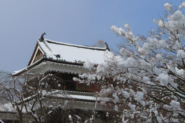 上田の櫓と雪の華。