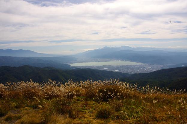 高ボッチよりの眺め、諏訪湖と富士山、八ヶ岳