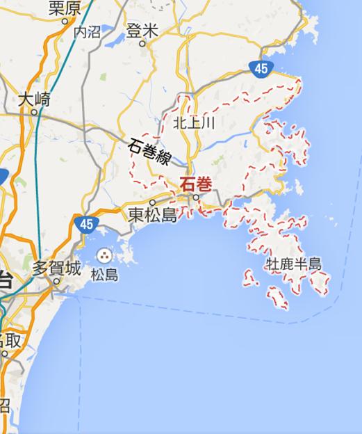 石巻市の地図