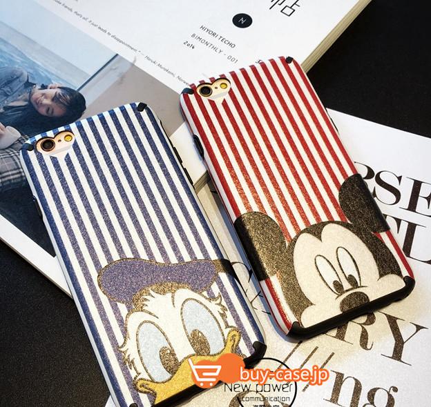 ディズニーiphone7 ケースおそろいミッキーマウス アイフォンiphone6s縞しま模様ドナルドダックiPhone6plus保護カバー7カップル向けペアケースお洒落ソフトカバー