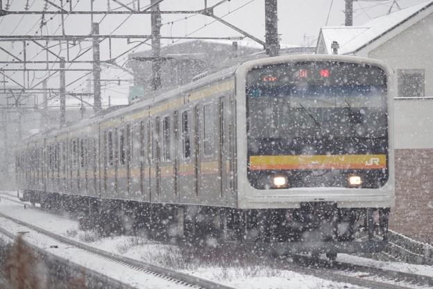 209系ナハ32編成と雪の組み合わせ、あと何回見られるか