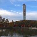 写真: 紅葉した園内の木々と東山スカイタワー - 4
