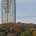 写真: 東山スカイタワー越しに見えた、飛行中の旅客機