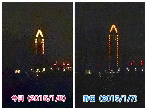 小牧から見える東山スカイタワー:毎月8日(今日は1/8)は『環境保全の日』で、イルミネーションは上半分! - 7(昨日との比較)