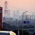 写真: 蜃気楼のように見える、春日井市内から見た夕暮れ時の名駅ビル群 - 1