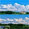 真っ白な入道雲の前に薄黒い雲が棚引いてた、今日昼頃の雲 - 7