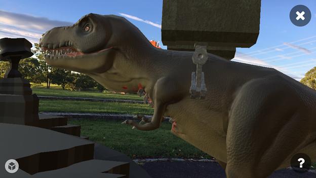 3Dモデル共有サービス「Sketchfab」公式アプリ - 50:3DモデルをAR!(ロケットランチャーを装備したティラノサウルス)