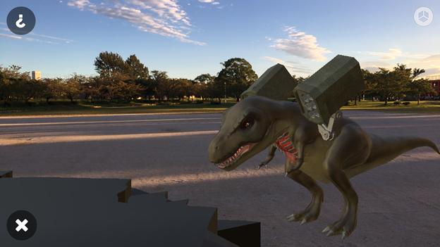 3Dモデル共有サービス「Sketchfab」公式アプリ - 53:3DモデルをAR!(ロケットランチャーを装備したティラノサウルス)