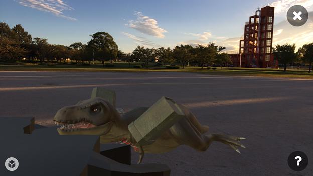 3Dモデル共有サービス「Sketchfab」公式アプリ - 54:3DモデルをAR!(ロケットランチャーを装備したティラノサウルス)