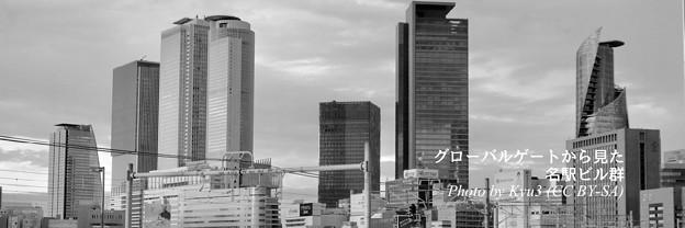 Twitterヘッダー画像:グローバルゲートから見た名駅ビル群(モノクロ)- 4