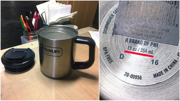 容量表記には「354ml」となってたけど、400ml入ったStanleyのマグカップ - 3