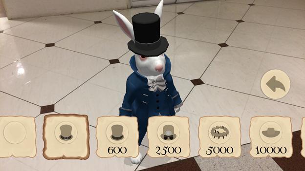 『不思議の国のアリス』を題材にしたミニゲームアプリ「Alice in Wonderland AR quest」2.1 No - 10:ウサギに帽子を追加