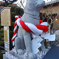 戌年で賑わう2018年正月の「伊奴(いぬ)神社」 - 28:本殿横に犬の像