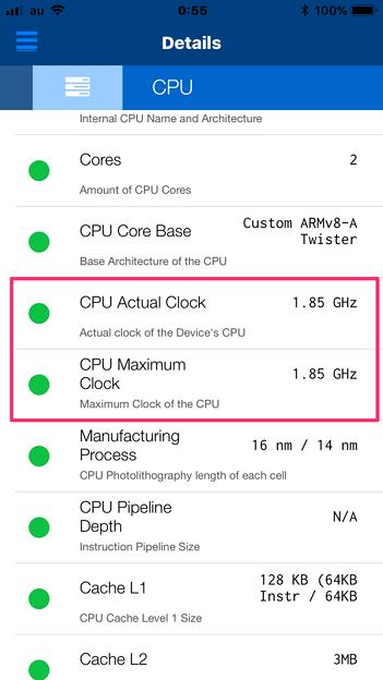 iPhoneの状況が分かるアプリ「Lirum デバイス 情報 Lite」 - 3:CPU処理能力は落ちず?