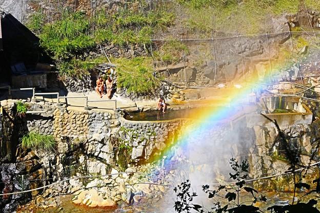 地獄谷温泉の温泉噴き上げ