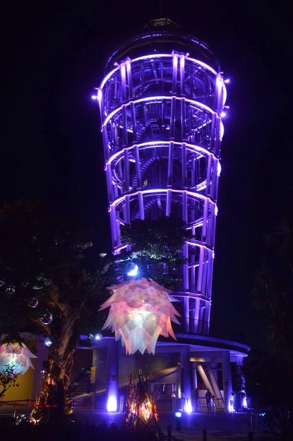 夜空に輝く江ノ島シーキャンドル #湘南 #藤沢 #江ノ島 #mysky #バレンタイン #イルミネーション #夜景