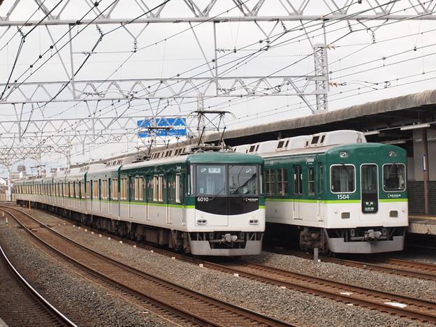 京阪6000系回送 京阪1000系普通追い越し 京阪本線西三荘駅