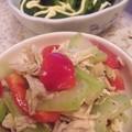 写真: ブロッコリーお浸し、茎と鶏...
