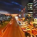 写真: 新横浜の夕暮れ