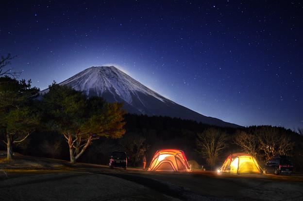 朝霧富士夜景