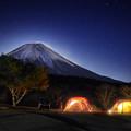 写真: 朝霧富士夜景