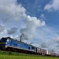 写真: 青い空と,青い機関車2