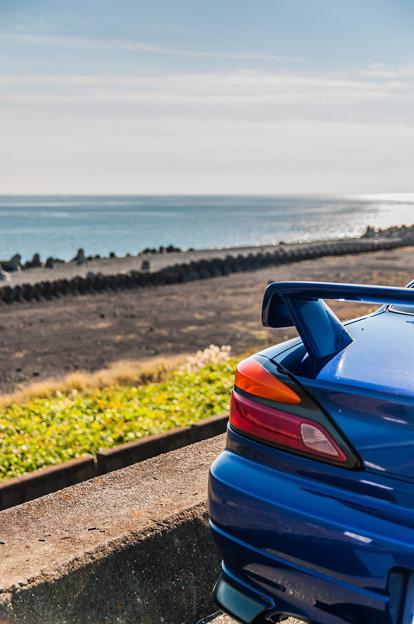 堤防から眺める砂浜