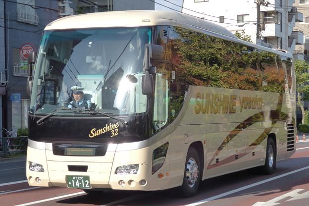 観光バス左側面での「天然のラッピング」