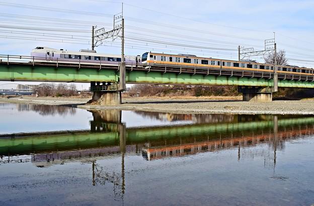 写真: 離合列車