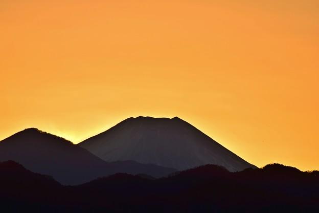 写真: 夕映え富士山