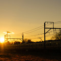 Photos: 美しい夕日を背に211系が今日も行く