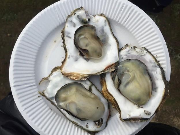 屋台の3つの焼き牡蠣