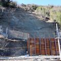 東海道本線 由比-興津間の土砂崩落現場