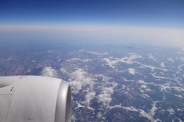 機窓から見るリアス式海岸