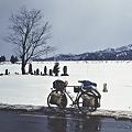 写真: 峠を越えるとそこは雪国