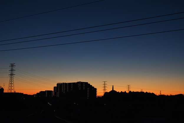 送電線の朝