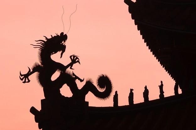 写真: 龍の寺院残照