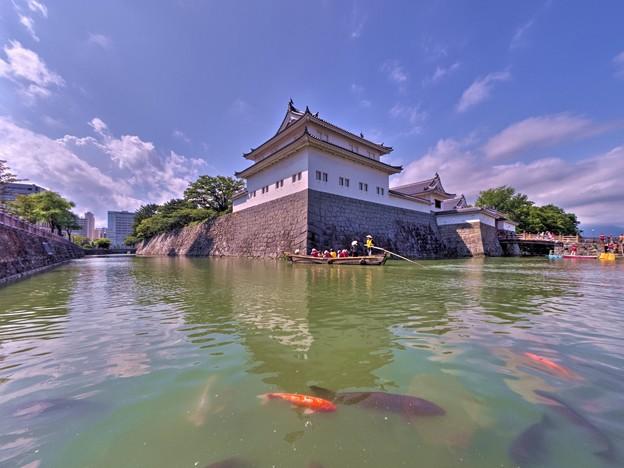 Photos: 駿府城二ノ丸堀  巽櫓と乗合和船「葵舟」