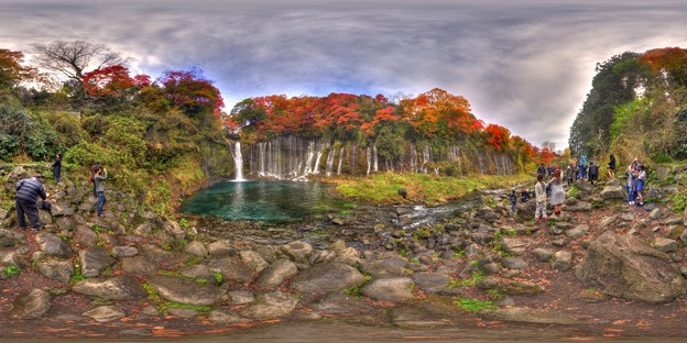 白糸の滝  紅葉 360度パノラマ写真