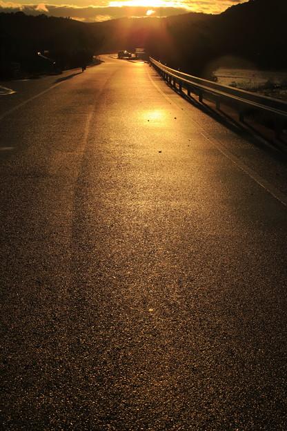 川土手の道
