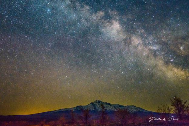 写真: 斜里岳と天の川