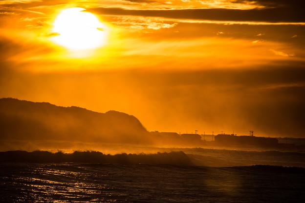 初冬の夕陽