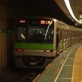 写真: 都営新宿線大島駅1番線 都営10-390F各停八幡山行き前方確認