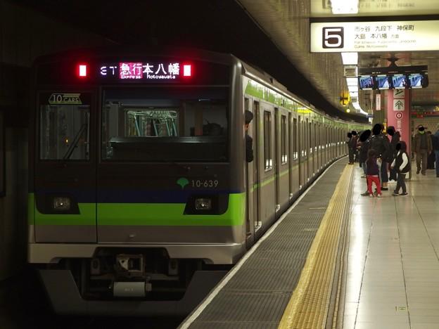 都営新宿線新宿駅5番線 都営10-630F急行本八幡行き前方確認