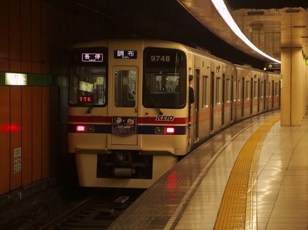 都営新宿線浜町駅1番線 京王9048F各停調布行き前方確認