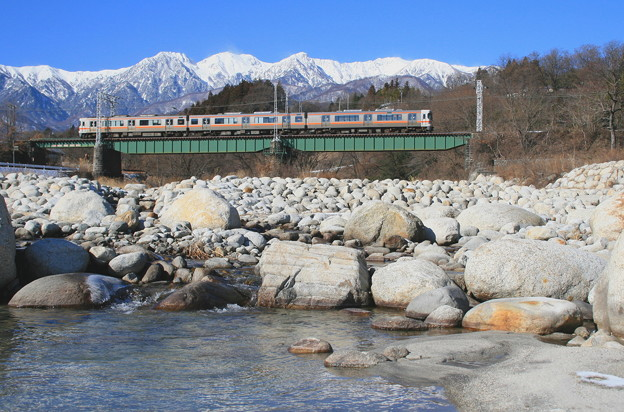 与田切川を渡る飯田線