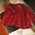 Photos: img632efd5dzik5zj 子供用セーター 赤毛糸にカラフルドット付き毛糸の合わせで