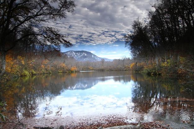 鎌池の紅葉風景