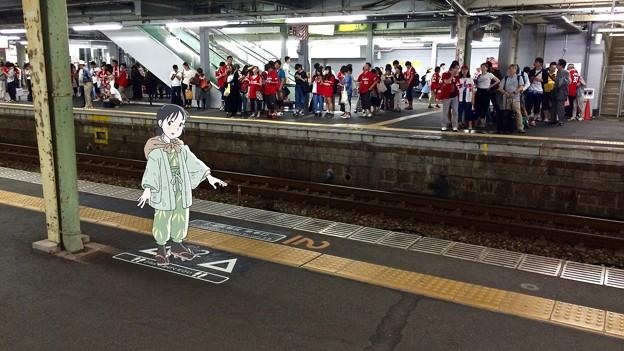 広島駅 在来線2番線ホーム 広島市南区松原町 スマホアプリ 舞台めぐり AR撮影 2016年8月11日